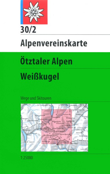 DAV Alpenvereinskarte 30-2 Ötztaler Alpen, Weißkugel Ski- und Wanderkarte 1:25.000