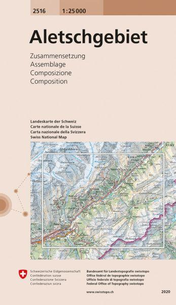 2516 Aletschgebiet topographische Wanderkarte Schweiz 1:25.000