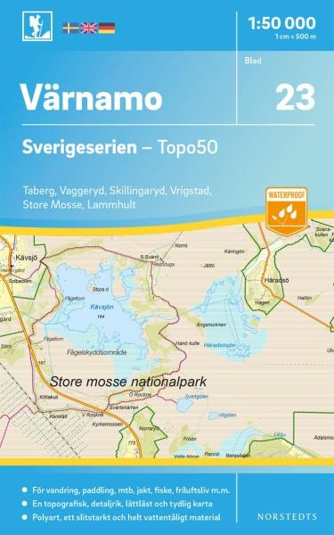 Värnamo Wanderkarte 1:50.000, Schweden Topo50 Blatt 23