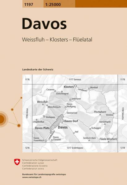 1197 Davos topographische Karte Schweiz 1:25.000