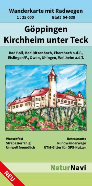 Göppingen - Kirchheim unter Teck 1:25.000 Wanderkarte mit Radwegen – NaturNavi Bl. 54-539