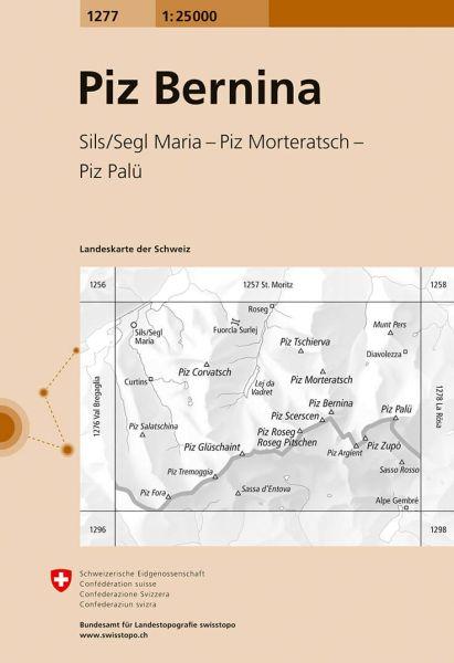 1277 Piz Bernina, topographische Wanderkarte Schweiz 1:25.000