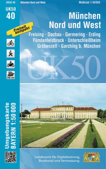 UK50-40 München Nord und West Rad- und Wanderkarte 1:50.000 - Umgebungskarte Bayern
