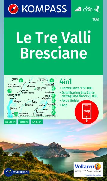 Kompass Karte 103, Le Tre Valli, Bresciane 1:50.000, Wandern, Rad fahren