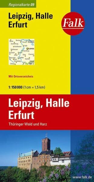 Regionalkarte 09 Leipzig, Halle, Erfurt 1:150.000, Falk Verlag
