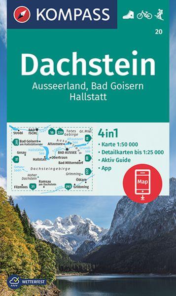 Kompass Karte 20, Dachstein, Ausseerland 1:50.000, Wandern, Rad fahren