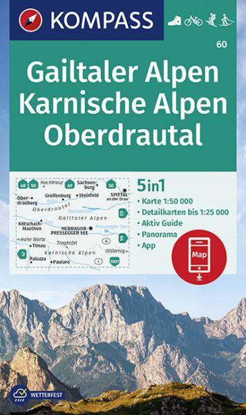Kompass Karte 60, Gailtaler-, Karnische Alpen 1:50.000, Wandern, Rad fahren