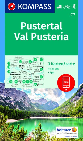 Kompass Karten Set 671, Pustertal (Val Pusteria) 1:25.000, Wandern, Rad fahren