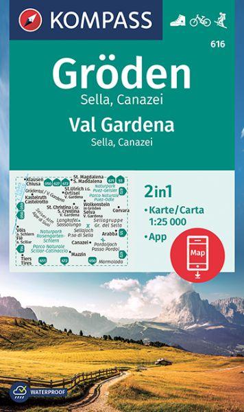 Kompass Karte 616 Groden Sella Canazei Wanderkarte