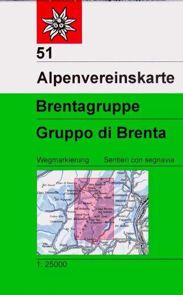 DAV Alpenvereinskarte 51 Brentagruppe, Gruppo di Brenta, Wanderkarte 1:25.000