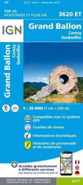 IGN 3620 ET Grand Ballon, Cernay, Guebwiller Frankreich topographische Wanderkarte 1:25.000