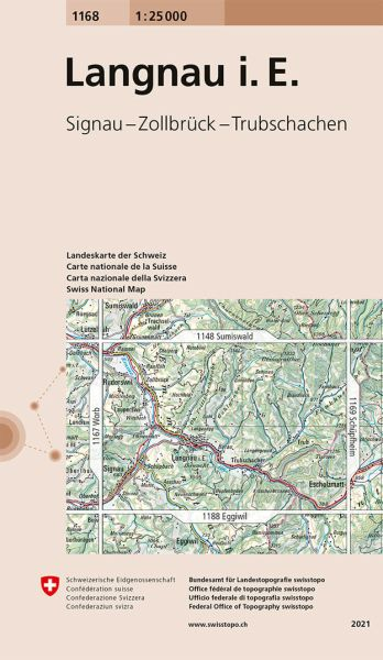 1168 Langnau i. E. topographische Wanderkarte Schweiz 1:25.000