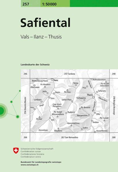 257 Safiental topographische Wanderkarte Schweiz 1:50.000