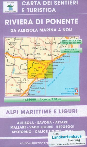 Riviera di Ponente Wanderkarte 1:25.000; Edizioni Multigraphic 103; Savona