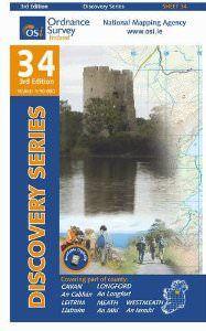 OSI 34 Cavan, Leitrim, Longford, Meath, Monaghan Wanderkarte 1:50.000