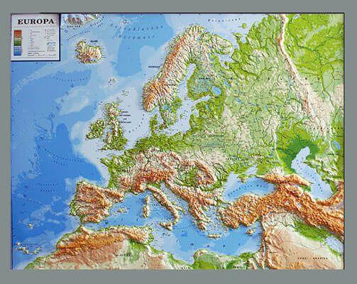 Europa Relief physisch mit silbernem Holzrahmen 82,8 cm hoch x 112 cm