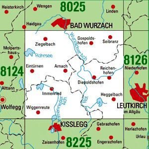 8125 LEUTKIRCH I.ALLG. WEST topographische Karte 1:25.000 Baden-Württemberg, TK25