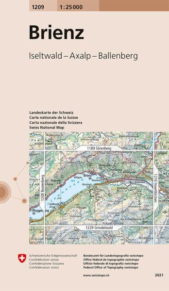 1209 Brienz topographische Wanderkarte Schweiz 1:25.000