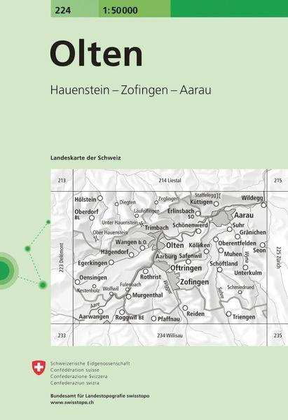 224 Olten topographische Wanderkarte Schweiz 1:50.000