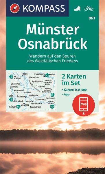Kompass Karte 863, Münster, Osnabrück 1:35.000, Wandern, Rad fahren