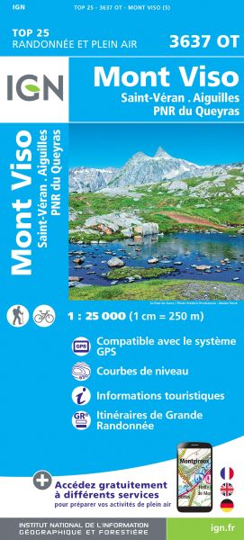 IGN 3637 OT Mont Viso, St-Veran, Aiguilles, Frankreich Wanderkarte 1:25.000