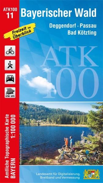 ATK100 Blatt 11 Bayerischer Wald, Freizeitkarte, 1:100.000 amtliche topographische Karte