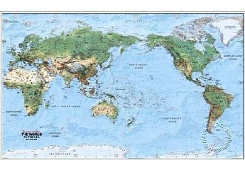 Weltkarte physisch pazifikorientiert von Global Mapping 138 cm x 80 cm