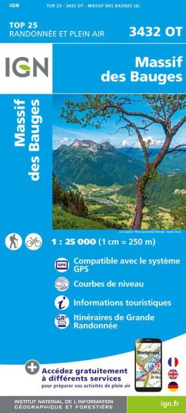 IGN 3432 OT Massif des Bauges, Frankreich Wanderkarte 1:25.000