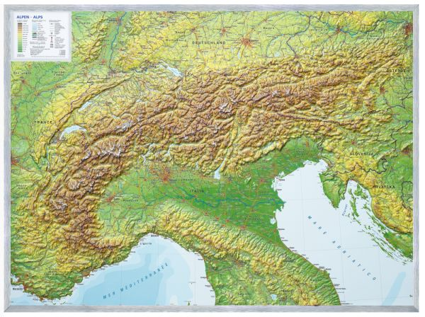 Alpen Relief groß mit Alu-Rahmen – 77 cm x 57 cm