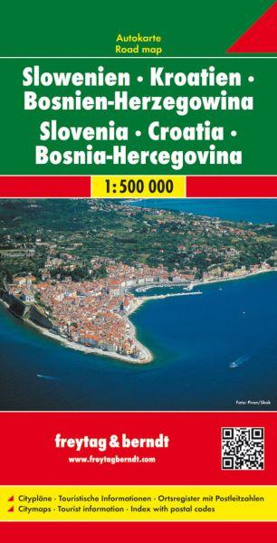 Slowenien, Kroatien, Bosnien-H., Straßenkarte 1:500.000, Freytag und Berndt