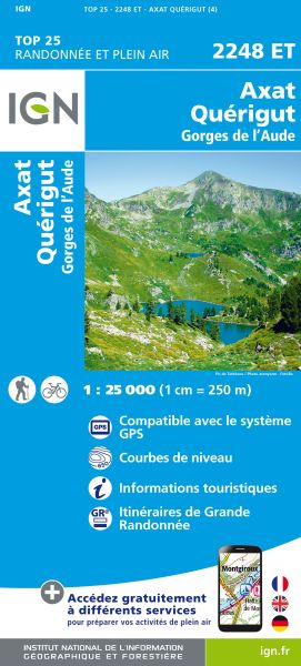 IGN 2248 ET Axat / Quérigut / Gorges de l'Aude, Frankreich Wanderkarte 1:25.000