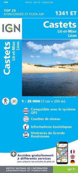 *Schnäppchen* IGN 1341 ET Castets, Lit-et-Mixe, Leon, Frankreich Wanderkarte 1:25.000 *Schnäppchen*