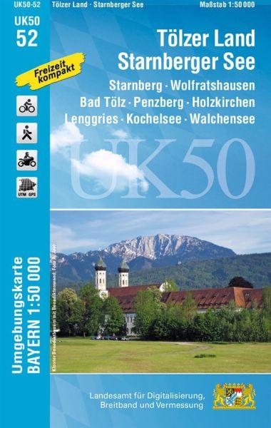 UK50-52 Tölzer Land - Starnberger See Rad- und Wanderkarte 1:50.000 - Umgebungskarte Bayern