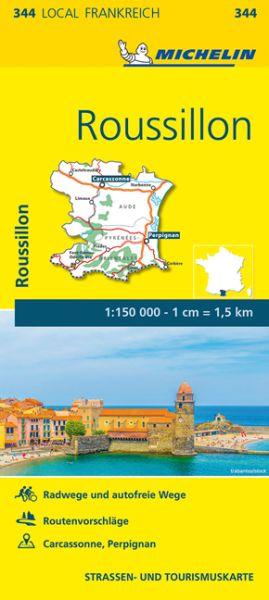 Michelin local 344 Roussillon Straßenkarte 1:150.000