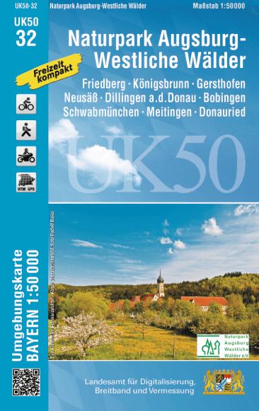 UK50-32 Augsburg Rad- und Wanderkarte 1:50.000 - Umgebungskarte Bayern