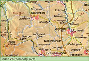 Physische Karte Baden Wurttemberg 1 500 000 Mit Verwaltungsgliederung