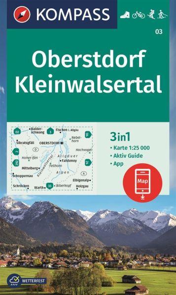Kompass Karte 03, Oberstdorf, Kleinwalsertal 1:25.000, Wandern, Rad fahren