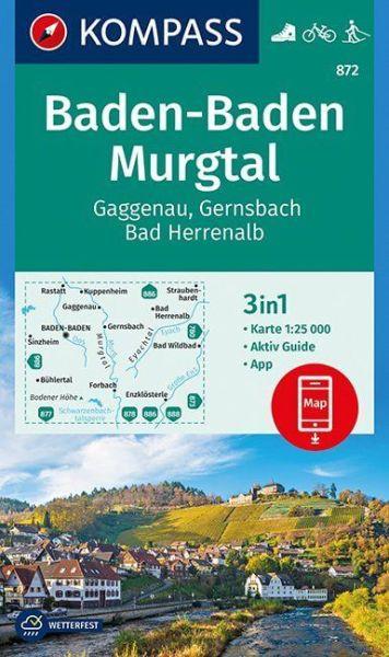 Kompass Karte 872, Baden-Baden, Murgtal 1:25.000, Wandern, Rad fahren