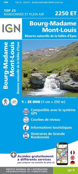 IGN 2250 ET Bourg-Madame / Mont-Louis / Col de la Perche, Frankreich Wanderkarte 1:25.000
