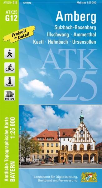 ATK25 G12 Amberg, 1:25.000 amtliche topographische Karte mit Wander- und Radwegen, Bayern