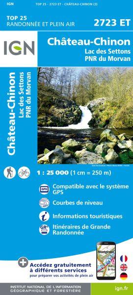 IGN 2723 ET Chateau-Chinon, Lac des Settons, Frankreich Wanderkarte 1:25.000