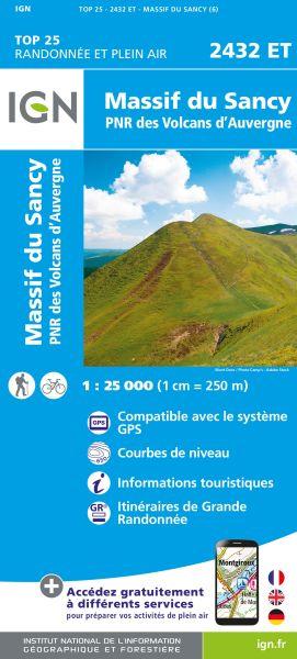IGN 2432 ET Massif du Sancy, Frankreich Wanderkarte 1:25.000