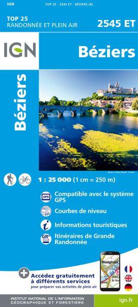 IGN 2545 ET Beziers, Valras-Plage, Frankreich Wanderkarte 1:25.000
