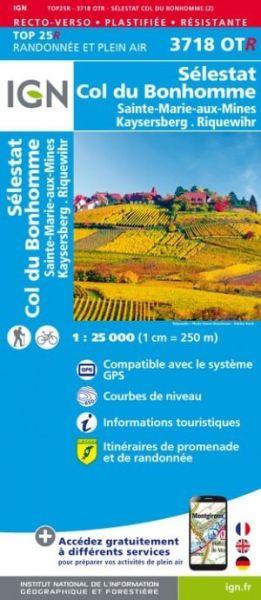 IGN 3718 OTR Sélestat, Col du Bonhomme, Frankreich reiß- und wasserfeste Wanderkarte 1:25.000
