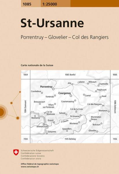 1085 St-Ursanne topographische Wanderkarte Schweiz 1:25.000