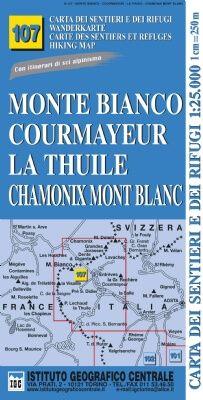 IGC 107 – Wanderkarte für Monte Bianco - Courmayeur - La Thuile - Chamonix - Mont Blanc 1:25.000