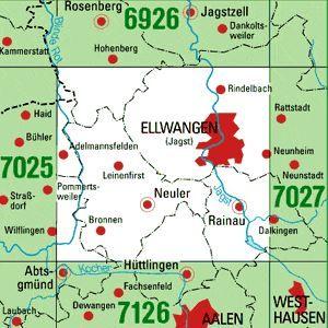 7026 ELLWANGEN (JAGST) WEST topographische Karte 1:25.000 Baden-Württemberg, TK25