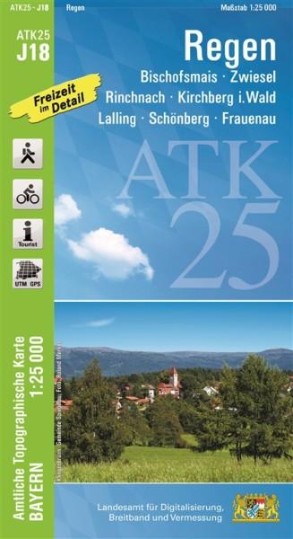 ATK25 J18 Regen, 1:25.000 amtliche topographische Karte mit Wander- und Radwegen, Bayern