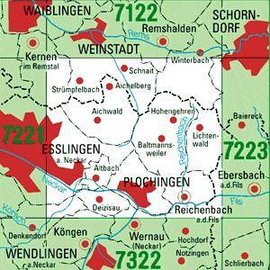 7222 PLOCHINGEN topographische Karte 1:25.000 Baden-Württemberg, TK25