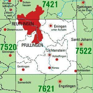 7521 REUTLINGEN topographische Karte 1:25.000 Baden-Württemberg, TK25